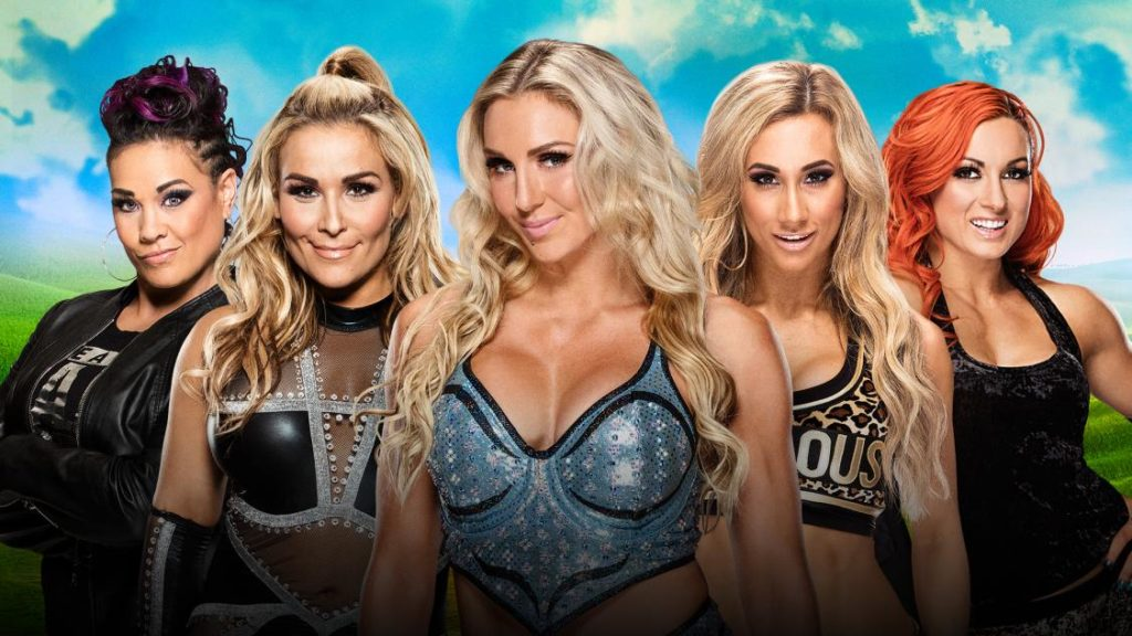 becky-lynch-vs-charlotte-flair-vs-natalya-vs-tamina-vs-carmella-in-a-money-in-the-bank-ladder-match-for-a-wwe-smackdown-womens-championship-match-contract